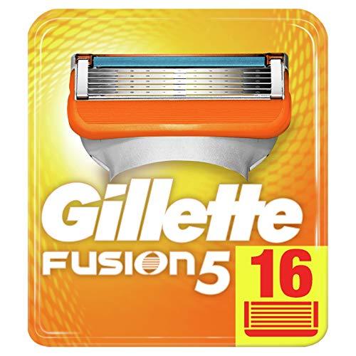 Gillette Fusion5 Lamette da Barba, 16 Ricambi da 5 Lame, Delicatezza Insuperabile, Rasatura Scorrevole con Striscia Lubrificante, Fino a 1 Mese di Rasatura con 1 Lametta