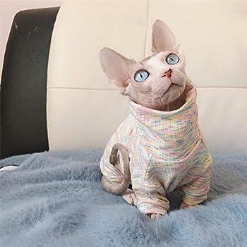 TENGTUD Vêtements de Chat sans Poils,vêtements de Chat Sphynx Pur Coton