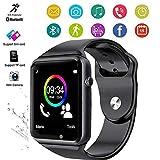 A1 - Reloj Inteligente Impermeable con Bluetooth para teléfonos Android compatibles con SIM con podómetro de Fotos, Reloj económico, teléfono y cámara, Bluetooth, Color Negro