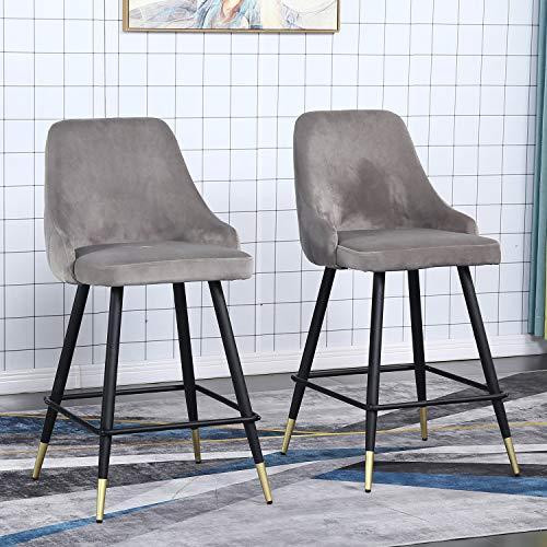 Bar Stools Set of 2 Counter Stools Velvet Barstool Modern Bar Chairs