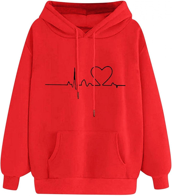 Hoodies for Women, Winter Fashion Long Sleeve Sweatshirts Heartbeat Print Casual Drawstring Pullover Jumper Tops