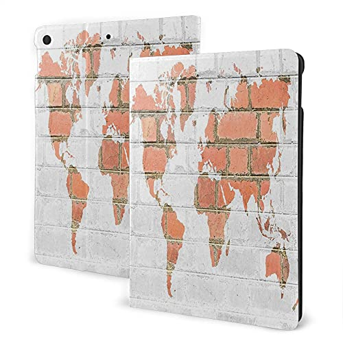 Case for Ipad 8/7 ( 2020/2019 Model, 8th / 7th Gen), Ipad Air3 & Pro Print Theme - Rustic Home Decor World Atlas Map on Grunge Style Red Brick Wall Continent Abstract Art White Tile Red