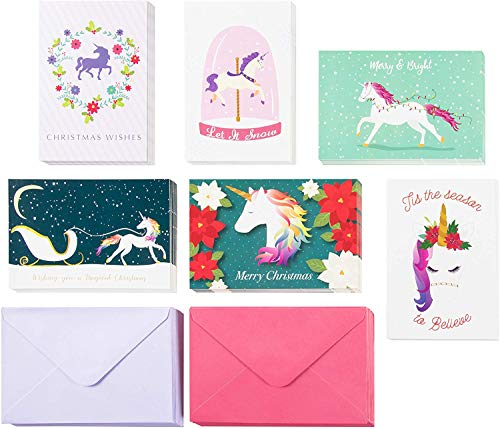 Xmas Cards - 48-Pack Merry Holiday Greeting Card - Happy Holidays Xmas Cards in 6 Rainbow Unicorn Designs Bulk Assorted Festive Winter Holiday Cards with Envelopes 4 x 6 Inches