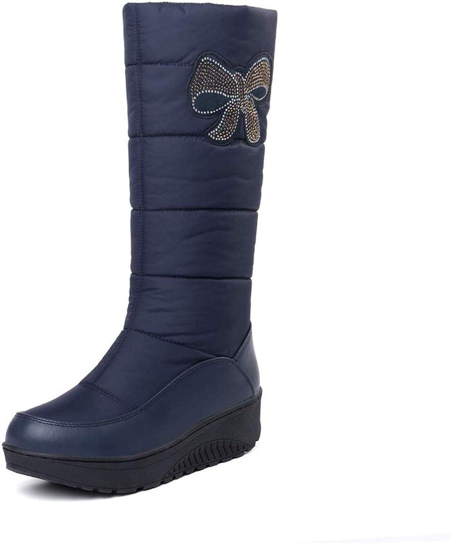 LVYING Women Winter Warm Snow Mid Calf Boots Down PU Leather Rhinestone Half Boots Platform shoes