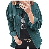 Donna Autunno Inverno Giacca da Moto Outwear Colore Solido Manica Lunga Giubbotto Cappotto (L,Blu)