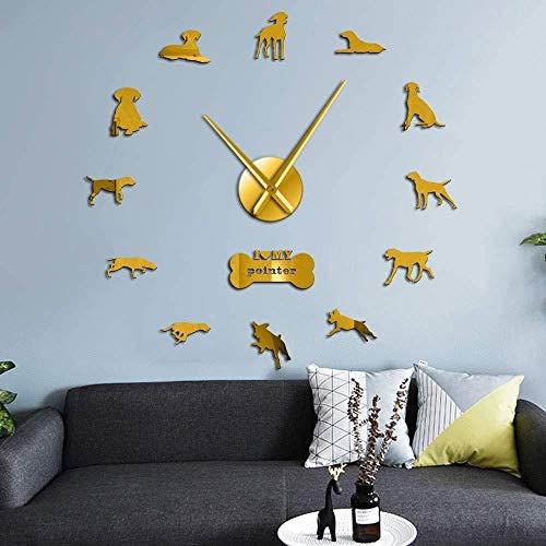 DIY Muur Klok Sport Hond Ras Pointer Hond Mute Muur Klok Korte Haar Grote Horloge Pointer Deutsch Hond Muur Art Sticker 37inch Goud