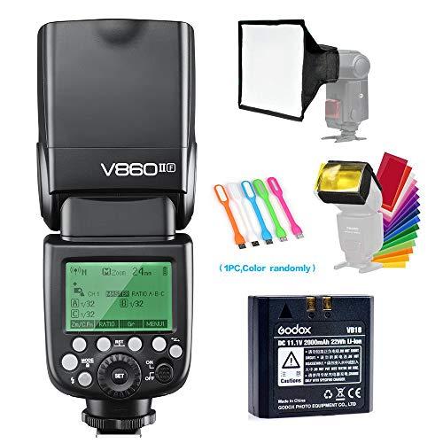 Godox V860II-F TTL GN60 2.4G High-Speed Sync 1/8000s Li-ion Battery Camera Flash Speedlite Light Compatible for Fujifilm Camera with 15x17cm Softbox & Filter &USB LED