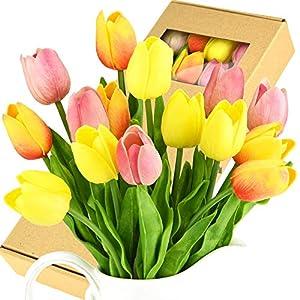 Silk Flower Arrangements FiveSeasonStuff Tulips Artificial Flowers | Real Touch | Wedding Bouquet Home Décor Party | Floral Arrangements | 15 Stems (Festive Bloom)