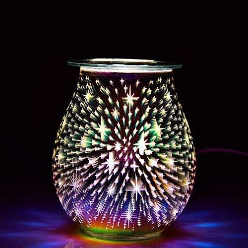 3D-Aroma-Lampe, Elektro-Wachs-Melt-Brenner, Nachtlicht Wachs-Wärmer for Home Office Schlafzimmer Wohnzimmer Geschenke & Dekor (Star)