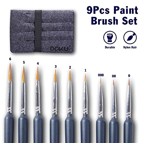OOKU Detail Paint Brush Set 9pc- Professional Tiny Minature Fine Detail Brushes for Art Painting, Face Painting, Detailing, Model Craft Art Painting - Black Wooden Handle & Wool Storage Wrap Organizer