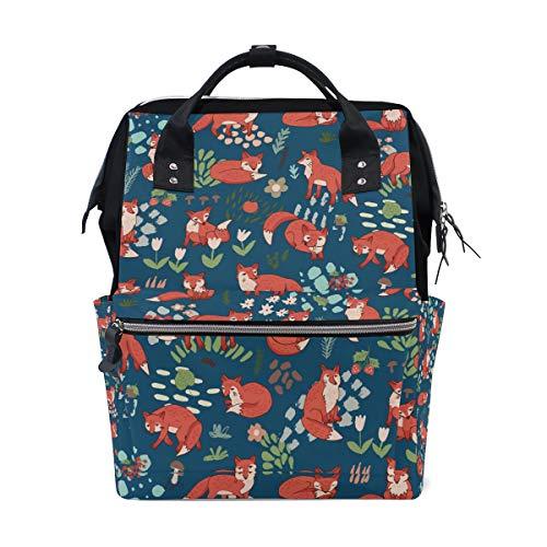 Sac à Dos Jungle Foxes Sac à Dos pour Les Femmes Maman Sangle Réglable Outdoor Daypack