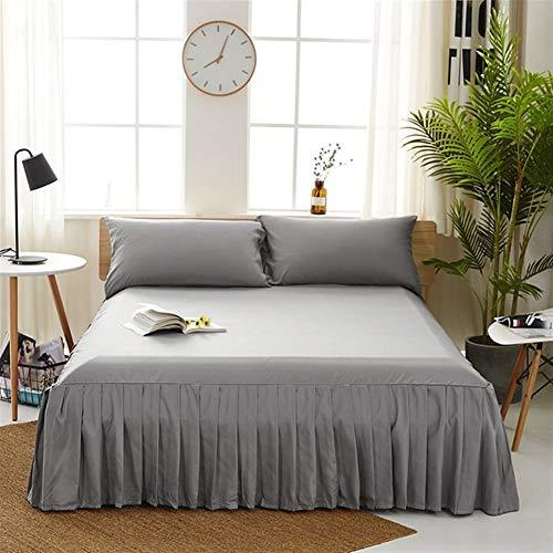 Pure Color Cama Falda Home Hotel Colcha Colcha Protección colchón de la Cama Falda de Cama Ropa de Cama Ropa de Cama Falda Cubierta FaldóN Volantes (Color : Grey, Size : Twin 99x190x38cm)