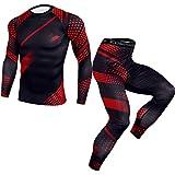 YAOTT Conjunto de Compresión Hombre Camiseta Estampada Elástica Deportiva de Manga Larga de Secado Rápido Pantalones Leggings Trajes de Entrenamiento Running traje rojo XXL