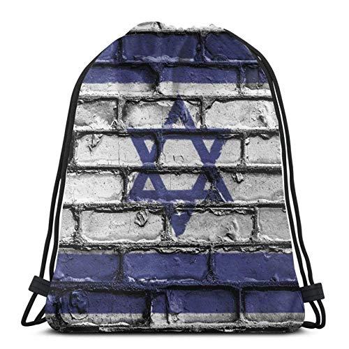 Drawstring Backpack Bags Israel Flag Banner Bricks Wall Drawstring Backpack Gym Sack Cinch Bag String Bag 36X43CM