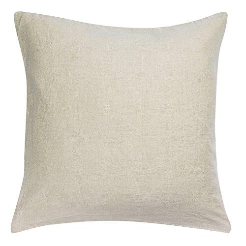 Vivaraise – Taie d'oreiller Zeff – Housse Lavable – 100% Coton lavé Stonewashed – Fermeture en Rabat