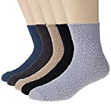 5 Pairs Mens Winter Soft Cozy Warm Fuzzy Socks - Solid color and Stripe Color, Grey