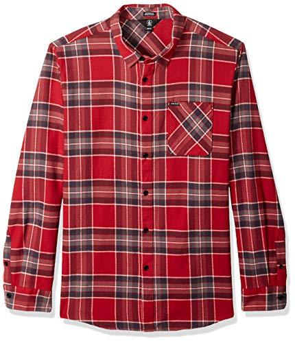 Volcom Herren Caden Plaid L/S Hemd, Burgundy, M