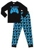The PyjamaFactory Brand Jungen Mädchen Player 1 Gaming Controller Lang Baumwolle Pyjama Blau Gr. 13 - 14 Jahre, Schwarz