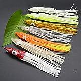 NO LOGO ZZB-Lure, 7 Piezas de Goma Faldas de Calamar 13 cm Pulpo Suave señuelos de Pesca atún pez Vela cebos Colores mezclan