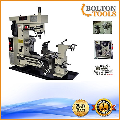 Bolton Tools 16' x 20' Combo Metal Lathe/Mill Drill Runs On 2 Separate...