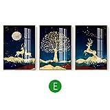 Decorativo Mural 3 Piezas Sala Decoración Pintura Sofá Fondo de la Pared Pintura Pintura luz Colgantes de Oro del árbol Decorazione Domestica Minimalista Moderna (Color : E, Size : 35 * 50cm*3)