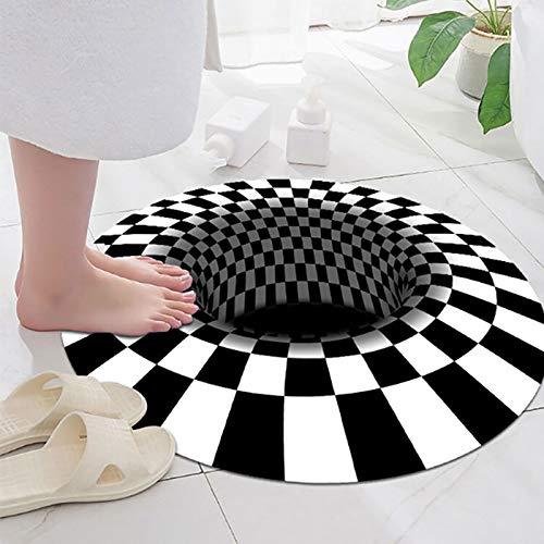 3D-Bereich Vortex-Illusion-Teppich, runder Square rutschfeste Fußmatte schwarz weiß Grid 3D Illusion Teppichboden für Schlafzimmer Wohnzimmer Flur Home Decoration (rund 80 * 80cm)