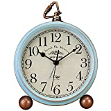 JUSTUP Table Clock, Vintage Non-Ticking Table Desk Alarm Clock Battery Operated with Quart...