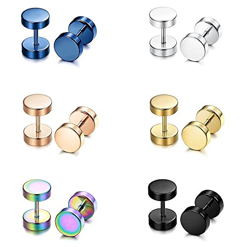 Epoch World 6 Pairs Stainless Steel Round Silver Gold Hoop Barbell Plugs Screw Studs Earrings Men Women Clip on Fake Gauges Earring 8MM
