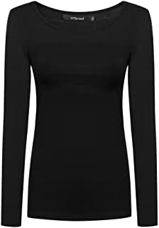 Women's Long Sleeve T-Shirt Scoop Neck Basic Layer...