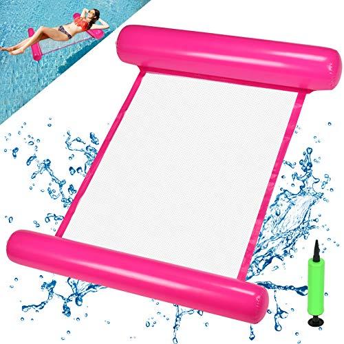 EKKONG Hamaca hinchable para piscina, cama flotante, hamaca 4 en 1, para adultos y niños, verano, fiesta, piscina, mar al aire libre (rosa rojo)