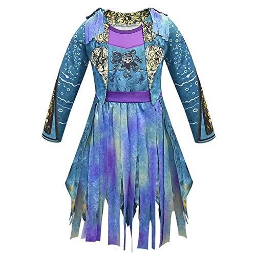 WSJDE Descendientes 3 Evie Bertha Malfica Live Evil Straight Purple Monos Cosplay Disfraz de HalloweenMal Dress Disfraz XXL B