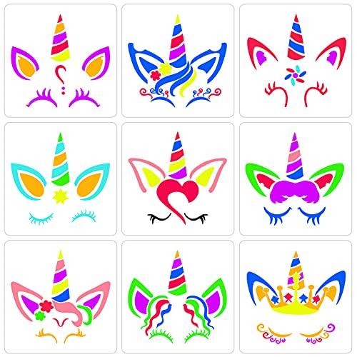 Qpout 9 Plantilla de pintura de unicornio para niños, plantilla de plástico reutilizable para pintura de animales de 7.8 x 7.8 pulgadas,para álbumes de recortes de niños cumpleaños tarjetas decoración