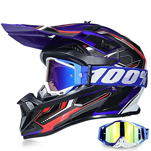 YASE Motorradhelm Crosshelm mit Brille, Motocross Helm/Enduro Downhill Helm, Offroad Motorradbrille Herren/Damen Full Face MTB Helm für Moped/ATV/Mountain Bike (Schwarz/Blau/Rot,M (54-55 CM))