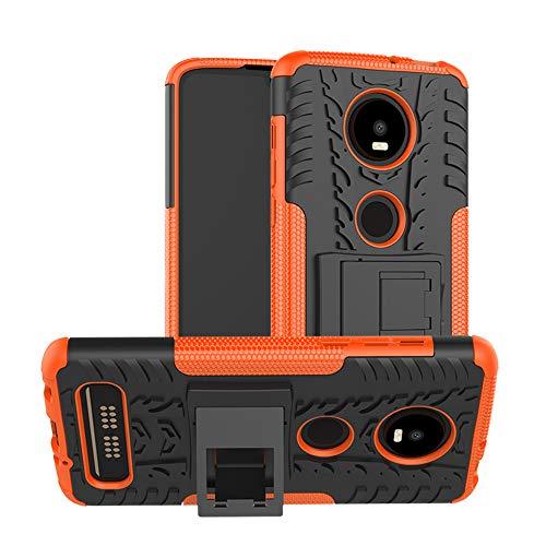 TiHen Handyhülle für Motorola Moto Z4 Play Hülle, 360 Grad Ganzkörper Schutzhülle + Panzerglas Schutzfolie 2 Stück Stoßfest zhülle Handys Tasche Bumper Hülle Cover Skin mit Ständer -Orange