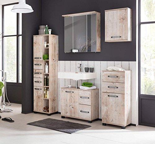 lifestyle4living Badmöbel, Badezimmermöbel, Hochschrank, Oberschrank, Unterschrank, Waschbeckenunterschrank, Spiegelschrank, Eiche Antik-Nachbildung, Set 5-TLG.