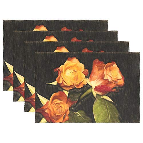 Promini manteles Individuales Resistentes al Calor, Pintura al óleo, Pintura de Flores, Rosas, Lavables, de poliéster, Antideslizantes, Lavables, para Cocina, Comedor, Juego de 4