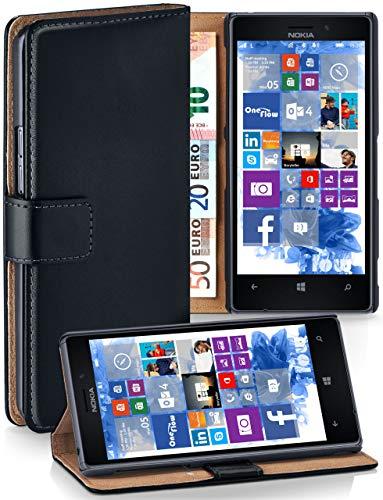 MoEx Cover a Libretto Compatibile con Nokia Lumia 925 | Fessura Carta + Soldi, Supporto, Nero