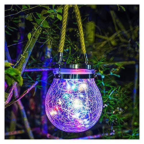 Extérieure LED Solar Jardin Light Ball Ballon Verre Crack Suspending Lampe Balcon Décor Numéro de Noël Wish Share Lights de nuit imperméable (Emitting Color : RGB)