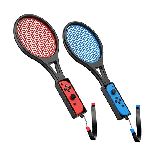 Tennis Racket for Nintendo Switch (2 Pack) by TalkWorks   Joy Con Controller Grip Sports Game Accessories for Mario Tennis Aces