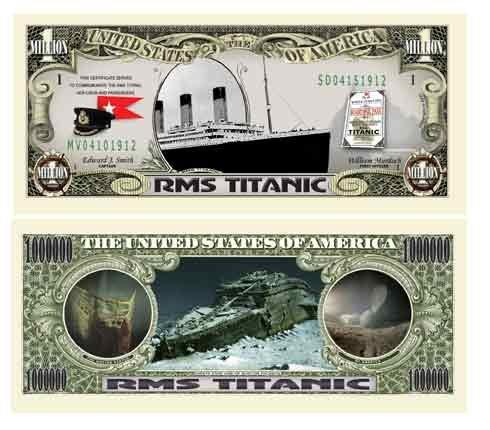 The Titanic Million Dollar Collectible Bill