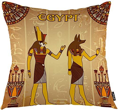 Divinità egizie copriletto copriletto antichi geroglifici egizi mitologia egitto faraone federa quadrata decorativa federa 45x45 cm (18 pollici) federa decorazioni per la casa per divano camera da letto soggiorno