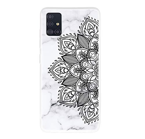 Everainy Funda Compatible para Samsung Galaxy A51 4G Silicona Bumper Ultrafina TPU Gel Carcasa Frase Mármol Goma Case Caso Caucho Antigolpes Parachoque Cover (Mandala)