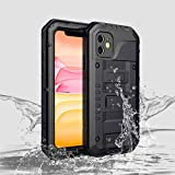 Compatible iPhone 11 Cases, Waterproof Phone Case for iPhone 11 6.1 inch with Stand, Shockproof Military Grade Heavy Duty Silicone with Screen Protector Full Body Rugged Armor Metal Cover for Apple