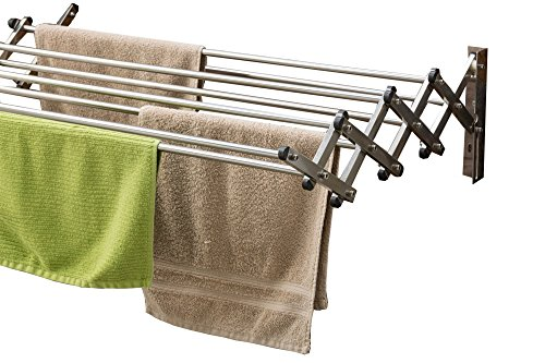 AERO W Space Saver Racks Stainless Steel Wall Mounted Laundry Folding Clothes Drying Rack 60 Pound Capacity 22.5 Linear Ft Clothesline