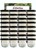 Tarro Juego de tarros vasos | cantidad 25pieza | cantidad de relleno 125ml, con Tapa de rosca Tapa Color Negro 25etiquetas NZ | Allrounder mermelada presupuesto etiquetas etiquetar vasos