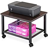 FITUEYES Printer Stand on Wheels,2 Tier End Table,Under Desk Mesh Storage,PS204801MW
