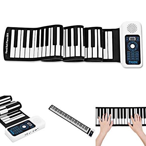 SEESEE.U Hand-Roll-Piano, tragbares Silikon 88 Tasten Hand-Roll-Up-Piano mit MIDI-E-Keyboard 140 Töne 128 Rhythmen Dual-Core-Lautsprecher-Roll-Up-Piano
