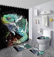 シャワーカーテン4点セット 滑り止めラグ トイレふたカバー バスマット トカゲ フック バスルームに適用 防水ポリエステル 180 × 180 センチメートル