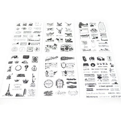 6 hojas de pegatinas de scrapbooking, para la decoración de calendario, teléfono inteligente, ordenador, Macbook, libro, cuaderno, taza NOVAGO (Buffer del mundo X6)