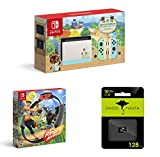 Switch 2020 Special Edition - Animal Crossing: New Horizons - Internal Storage 32GB - Bundle Ring Fit Adventure[Game] & Hesvap 128GB Micro SD Card (Switch Animal+Ring Fit+128GB SD Card)